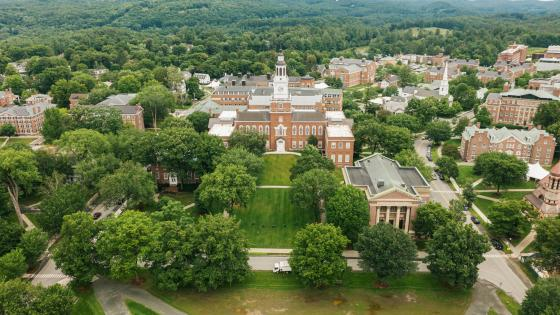 View of Baker library from the air