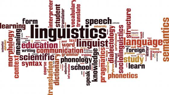 """Graphic made up of words relating to linguistics, """"education"""", """"language"""", etc."""