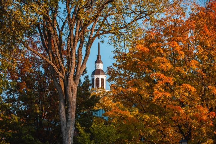 Baker tower framed by fall trees