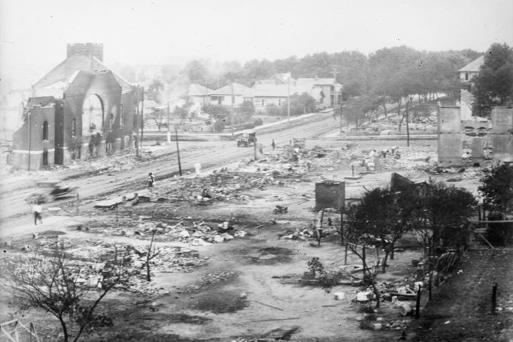]: Ruins of a Black neighborhood destroyed by a white mob during the 1921 Tulsa Massacre